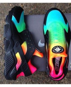 3d0b3af08e9436 Nike Air Huarache Run Rainbow Black Green Yellow Pink Trainer Nike Shoes  Huarache
