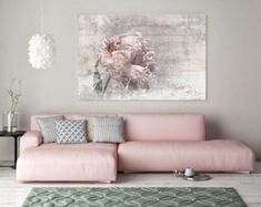 """Romantic Peony. Floral Painting Canvas Print, Shabby Chic Rustic Blur Blush Pink Gray Large Canvas Art Print up to 72"""" by Irena Orlov"""