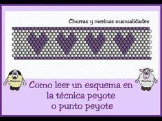 Leer un esquema en Punto Peyote (miyuki) - YouTube VideoTutorial Bead Loom Patterns, Beading Patterns, Churros, Beaded Rings, Beaded Bracelets, Tutorial Anillo, Light Covers, Peyote Stitch, Beading Tutorials