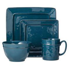 Threshold Wellsbridge Square Ceramic 16 Piece Dinnerware Set - Azure Blue  sc 1 st  Pinterest & Baum Bros. Galaxy Jade 16 Piece Dinnerware Set | Dinnerware Cabin ...