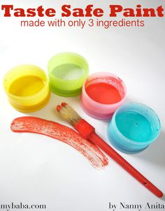 Taste safe paint for toddlers made from 3 ingredients Painting Activities, Craft Activities For Kids, Infant Activities, Crafts For Kids, Baby Painting, Painting For Kids, Baby Finger Paint, Baby Sensory, Sensory Play