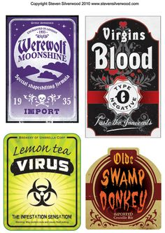 Halloween Bottle Labels
