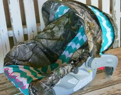 Realtree Camo With Teal Turquoise Minky Car Seat Cover And