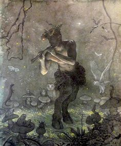 Pan's Night Song} by {Allen Todd Yeager}{Mythical Creatures- Fauns}The first fauns were mentioned in Greek and Roman mythology. They lived in forests and in Greek mythology were associated with the Greek God Pan. Magical Creatures, Fantasy Creatures, Forest Creatures, Woodland Creatures, Beautiful Creatures, Fantasy World, Fantasy Art, Art Graphique, Green Man