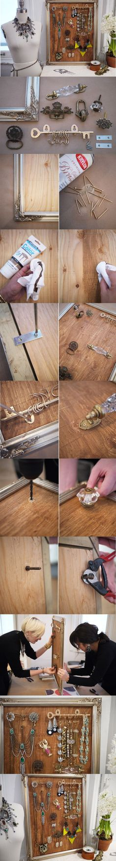 DIY:  Jewelry Design Board - made using repurposed hardware and a frame.