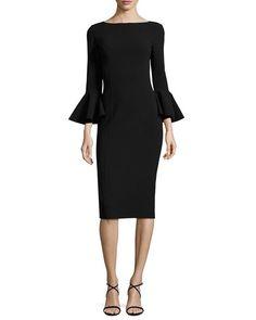 Michael Kors | Bell-Cuff Bateau-Neck Sheath Dress, Black | $1,995.00