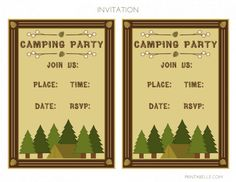 free camping party printables from printabelle - Camping Party Invitations