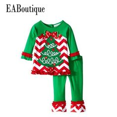 acabfc251 EABoutique Winter New Years Outfit Kids Girls Fashion Christmas outfit  Thanksgiving day suit santa tree cartoon pattern