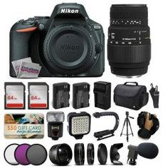 Nikon D5500 Digital Camera (Body Only) + 70-300 DG Lens + 128GB Memory + (2) Batteries + Charger + Video Light + Tripod + Backpack + Case + 3 Filters + Grip Action Handle + Microphone + More!