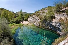Pozo Azul - literally 'blue pit' - a natural springs pool outside the ancient town of Covanera, near the Cantabrian Mountains in northern Spain.