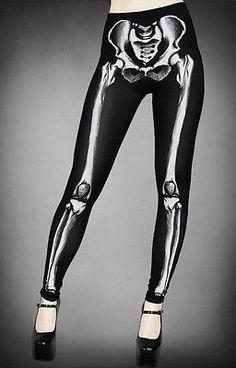 Goth-punk-rockabilly-Restyle-Clothing-black-skeleton-print-leggings-S-M-6-8-10