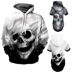 53f502e51ea Blue Red 3D Skull Hoodie New 2018