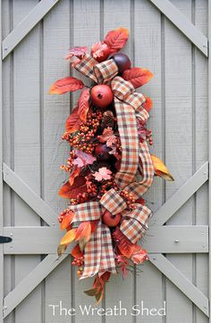 Free Shipping, Country Autumn Wreath, Fall Wreath, Farmhouse Decor, Fall Gourd, Wreaths, Front Door Wreath, Wreath for Door, Wreath for Fall So lovely.....with large red pomegranates! This one of a kind beautifully designed fall pomegranate swag is made with an angel hair twig base. Also includes a mixture of fall leaves, pinecones, berries, a burlap fall double bow. A hook on top makes for easy hanging! This farmhouse fall swag on your front door or in your home will give that perfect…
