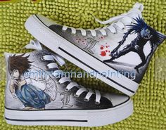 Death Note Shoes Ryuuzaki and Ryuuku Canvas #Sneakers for Death N