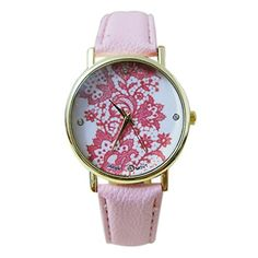 Sanwood Damen Lace Gedruckt Uhr Armbanduhr Watch (Rosa) - http://uhr.haus/sanwood/rosa-sanwood-damen-lace-gedruckt-uhr-armbanduhr