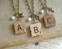 SCRABBLE Letter Necklace. Custom Initial by PreciousPastimes