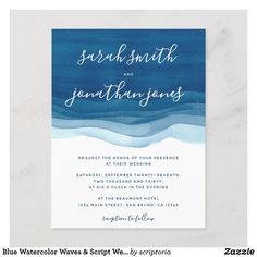 Shop Blue Watercolor Waves & Script Wedding Invitation created by scriptoria. Nautical Wedding Invitations, Destination Wedding Invitations, Watercolor Wedding Invitations, Invitation Card Design, Wedding Invitation Design, Wedding Stationery, Watercolor Wave, Seaside Wedding, Script
