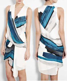 Helmut Lang Silk Geometric Print Dress