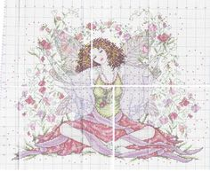 0 point de croix femme fée assise et fleurs- cross stitch fairy lady sat with flowers