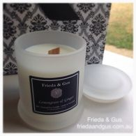 Lemongrass & Ginger Elegant Soy Candle by Frieda & Gus. Wooden Wicks & Frosted Glass #friedaandgus #soycandle #frenchpear #lemongrass #ginger #woodwick #Geelong #coconutlime