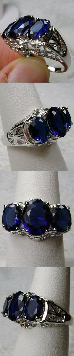 Rings 52603: *Blue Sapphire* Sterling Silver Filigree Edwardian Cocktail Ring Size Any/Mto BUY IT NOW ONLY: $36.0