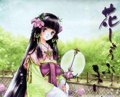 Princess with long black hair, violet eyes, pink flowers, & green kimono by manga artist Shiitake.