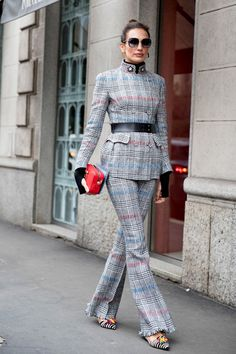 Belted Plaid - Milan Fashion Week's Most Fabulous Street Style, Fall 2018 - Photos