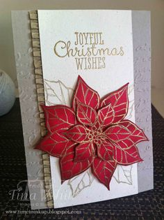 Joyful Christmas, gold embossed on Real Red cardstock.  Leaves stamped in Gold Inkpad.  Baked Brown Sugar ruffled ribbon