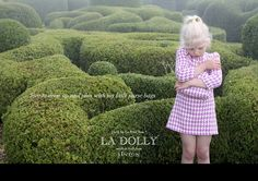 LA DOLLY 'MOD DRESS WITH BUTTON & 3/4 SLEEVES' Linton Tweed® - houndstooth fuchsia