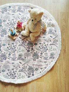 Size approx. 90cm ~ 95cm in diameter. All items are handmade so may different slightly from the picture. 1. Front: pink bird print 2. Back: cream cotton quilted fabric 3. White fringe detail on edge Designed and Handmade in Australia