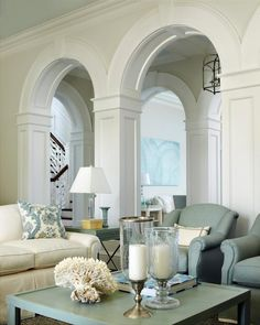 Gorgeous arches, pale blue and white interior