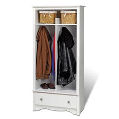 @Overstock - Winslow White Entryway Organizer - Give your entryway, foyer or mudroom some much-needed storage with the Entryway Organizer. Keep your coats, jackets and sweaters neatly stored in the two divided hanging areas, and tuck away gloves, hats and scarves in the single drawer underneath.  http://www.overstock.com/Home-Garden/Winslow-White-Entryway-Organizer/2202245/product.html?CID=214117 $198.99