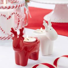 Red and White Christmas Tea Light Holders