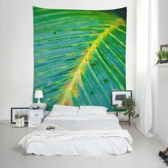 Leaf wall hanging made of fabric, Tropical decor, Ecology shop wall tapestry, Home decoration, Plant lover gift. Affordable Wall Art, Tropical Decor, Tropical Leaves, Wall Tapestry, Printing On Fabric, Backdrops, Interior Decorating, Wall Decor, Indoor