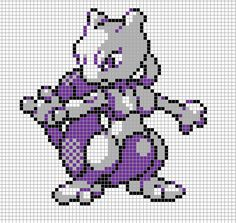 Mewtwo Pixel Art Grid by Hama-Girl.deviantart.com on @deviantART