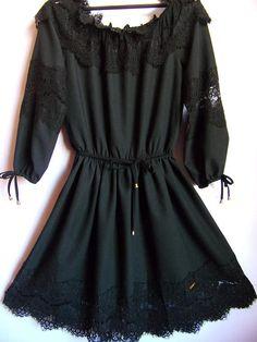 Vintage Women's Dress/ Black Party Dress/ Lace Dress/Bushy