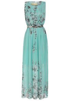 Sleeveless Florals Pleated Green Dress 20.33