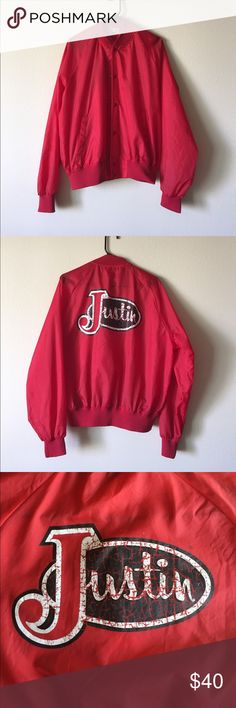 """Vintage Red Justin's Windbreaker Size Large I am selling this vintage Justin wind breaker. Tag says """"Large."""" It seems to be a men's large, but could also fit women's. Measurements are: armpit to armpit 25"""". Length 26"""". Bottom width 16"""", but stretches to 25."""" Shell and lining 100% nylon. Knit trim front interlining 100% polyester. ALL MEASUREMENTS ARE APPROXIMATE AND MEASURED FROM SEAM LINE TO SEAM LINE Chalk Line Jackets & Coats Windbreakers"""