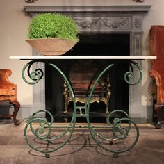 Furniture - A charming 19th century French painted pastry table with its original top.