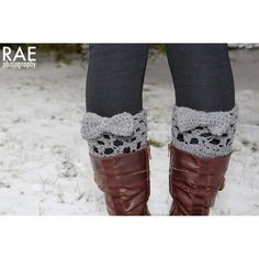 Grey crocheted boot cuff leg warmers with bow--Rea ($15.00)