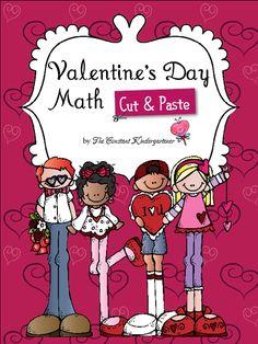 Valentine's math cut&paste activities for pre-k and kindergarten! $