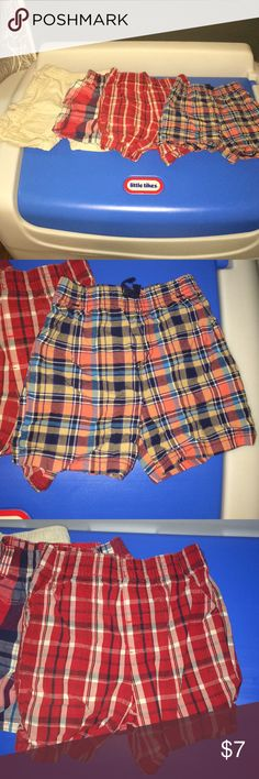 Plaid Khaki 24 Month Shorts Lot of 4 Two pair of red plaid shorts, one children's place Khaki shorts and a blue/navy/yellow coral plaid shorts. Bottoms Shorts