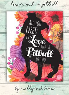 Pitbull, Pitbull Art, All You Need is Love and A Pitbull, Pitbull Silhouette with Quote and Colorful Floral, Pitbull Mom Gift, Dog Mom Gift by MollyandBeau on Etsy https://www.etsy.com/listing/472655767/pitbull-pitbull-art-all-you-need-is-love