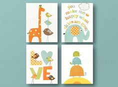 You make me Happy - Orange green and yellow - kids room decor baby nursery - love turtle giraffe birds elephant Set of four prints