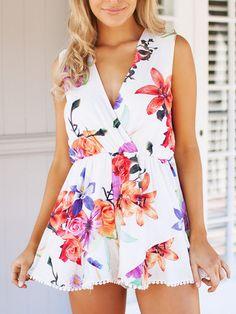 White Floral Print V Neck Sleeveless Romper Playsuit | CHOiES