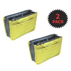 Yellow 2 X Large Purse Organizer Insert Pack Women Travel Set Handbag Liner Tidy Dual