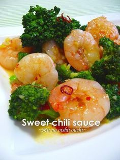 【材料】2人分むきえび・・・150gブロッコリー(軽く塩茹で)・・・150g Sweet Chili, Shrimp Recipes, Broccoli, Easy, Seafood, Food And Drink, Vegetables, Cooking, 150g