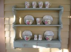 Shabby Chic Plate Rack, Vintage Wooden Plate Rack, Wall Mount Display Rack, Wall…