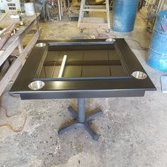 Black Custom Made Domino table with a pedestal base. Featuring cupholders, pedestal base, domino racks and an epoxy pour playing surface. Domino Table, Diy Table, Pedestal, Epoxy, Tables, Surface, Base, Dining, Furniture