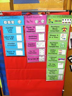 Daily 5 Math- list of all games we have learned and are available to play- like this idea and colour blocking to see easily- lots more ideas here